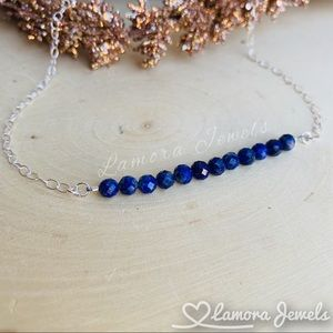 Lapis Lazuli Gemstone Sterling Silver Bar Necklace